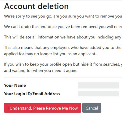 Account Deletion Message