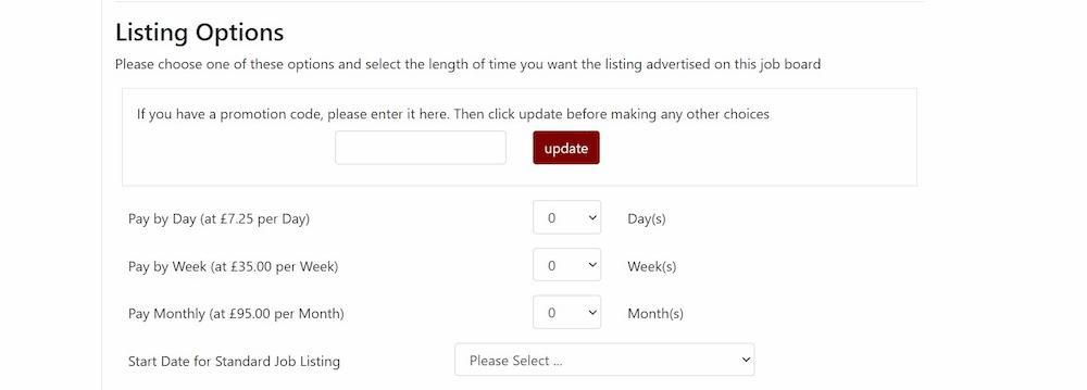 Adding a new job listing options